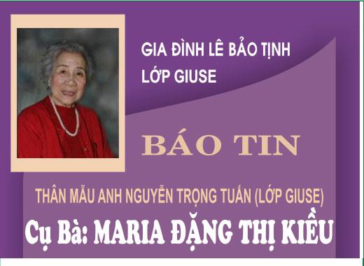 Tin buồn cụ bà Maria Đặng Thị Kiều