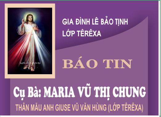 Tin buồn Cụ bà Maria Nguyễn Thị Chung